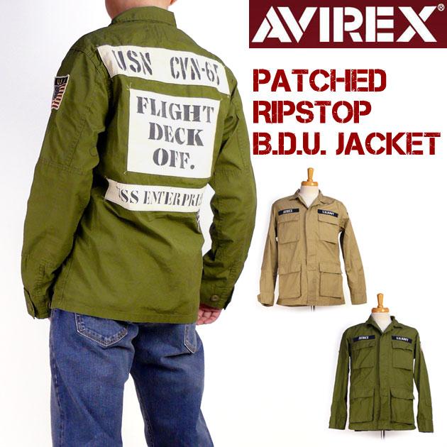 AVIREX アビレックス メンズ ジャケット パッチド リップストップ BDUジャケット CVN-65 ミリタリージャケット 6182129 春物 送料無料 プレゼント ギフト