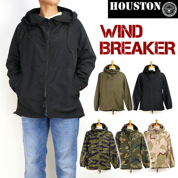 HOUSTON ヒューストン メンズ ミリタリージャケット ナイロン ウインドブレーカー フードジャケット 春物 送料無料 50668