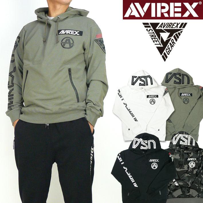 AVIREX アビレックス ストレッチ プルパーカー STREET GEAR ROAD ミリタリースウェットパーカー 送料無料 6183507