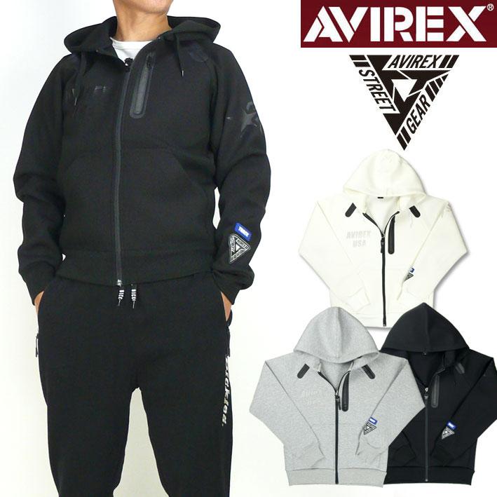 AVIREX アビレックス フーデッド スウェットパーカー STREET GEAR TRACK ストレッチ ミリタリー ジップパーカー 送料無料 6183489