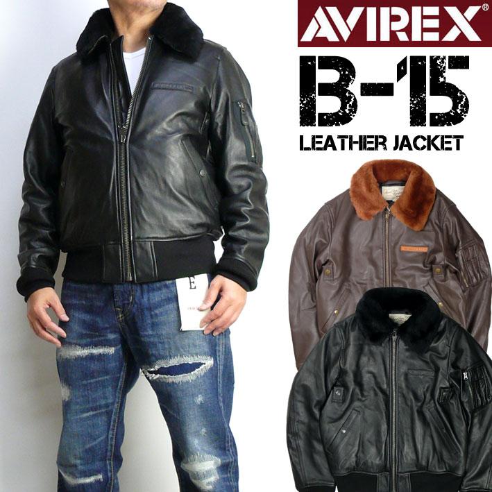 AVIREX アビレックス B-15 レザージャケット メンズ シープレザー B-15 フライトジャケット ミリタリージャケット 6181050