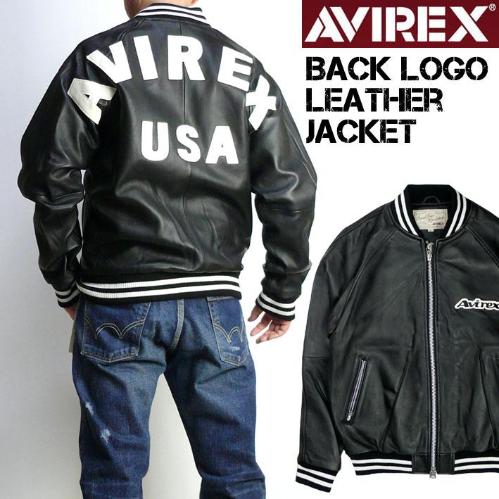 AVIREX アビレックス バックロゴ レザージャケット メンズ シープレザー ジャージ ジャケット ミリタリージャケット 6181058