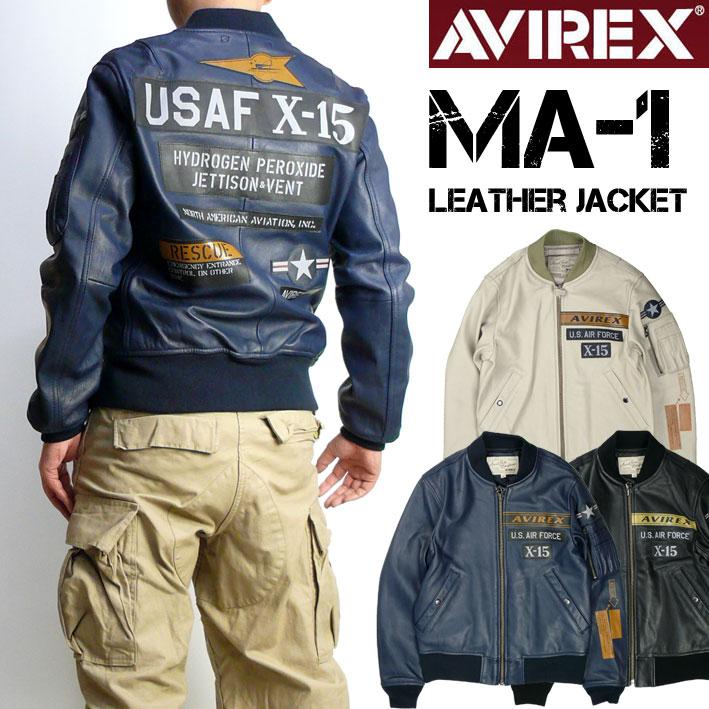 AVIREX アビレックス レザー MA-1 X-15 メンズ LEATHER MA1 X-15 フライトジャケット ミリタリージャケット 6181067