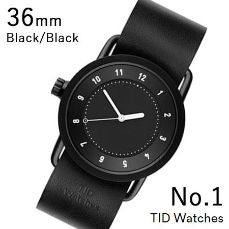 【国内正規品】【プレゼント付き】TID01-36BK-BK TID Watches No.1 Black 36mm BK case/BK dial Wristband Black Leather 腕時計 レディース メンズ ブランド 北欧 時計 北欧デザイン ウォッチ ブランド時計 ブランド腕時計