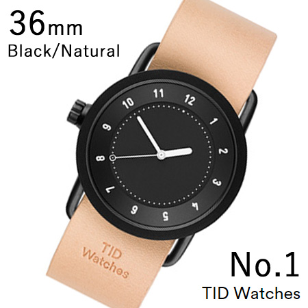 【最大5%クーポン配布中】TID01-36BK-N TID Watches No.1 Black 36mm BK case/BK dial Wristband Natural Leather 腕時計 レディース メンズ ブランド 北欧 時計 北欧デザイン ウォッチ ブランド時計 ブランド腕時計