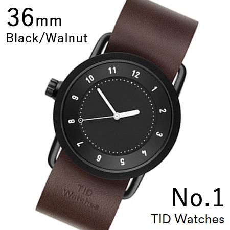 【最大5%クーポン配布中】TID01-36BK-W TID Watches No.1 Black 36mm BK case/BK dial Wristband Walnut Leather 腕時計 レディース メンズ ブランド 北欧 時計 北欧デザイン ウォッチ ブランド時計 ブランド腕時計