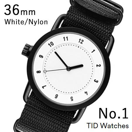 【割引クーポン配布 5/21 9:59迄】【国内正規品】【プレゼント付き】TID01-36WH-NBK TID Watches No.1 White 36mm BK case/WH dial Wristband Black Nylon 腕時計 レディース メンズ ブランド 北欧 時計 北欧デザイン ウォッチ ブランド時計 ブランド腕時計