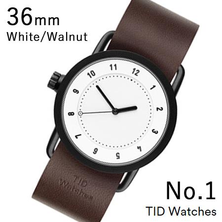 【割引クーポン配布 5/21 9:59迄】【国内正規品】【プレゼント付き】TID01-36WH-W TID Watches No.1 White 36mm BK case/WH dial Wristband Walnut Leather 腕時計 レディース メンズ ブランド 北欧 時計 北欧デザイン ウォッチ ブランド時計 ブランド腕時計
