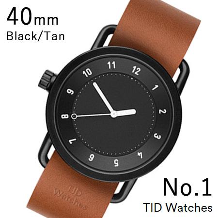 【割引クーポン配布 5/21 9:59迄】【国内正規品】【プレゼント付き】TID01-40BK-T TID Watches No.1 Black 40mm BK case/BK dial Wristband Tan Leather 腕時計 レディース メンズ ブランド 北欧 時計 北欧デザイン ウォッチ ブランド時計 ブランド腕時計