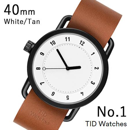 【国内正規品】【プレゼント付き】TID01-40WH-T TID Watches No.1 White 40mm BK case/WH dial Wristband Tan Leather 腕時計 レディース メンズ ブランド 北欧 時計 北欧デザイン ウォッチ ブランド時計 ブランド腕時計