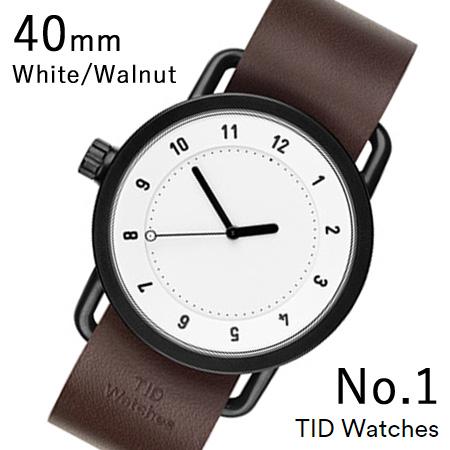 【割引クーポン配布 5/21 9:59迄】【国内正規品】【プレゼント付き】TID01-40WH-W TID Watches No.1 White 40mm BK case/WH dial Wristband Walnut Leather 腕時計 レディース メンズ ブランド 北欧 時計 北欧デザイン ウォッチ ブランド時計 ブランド腕時計