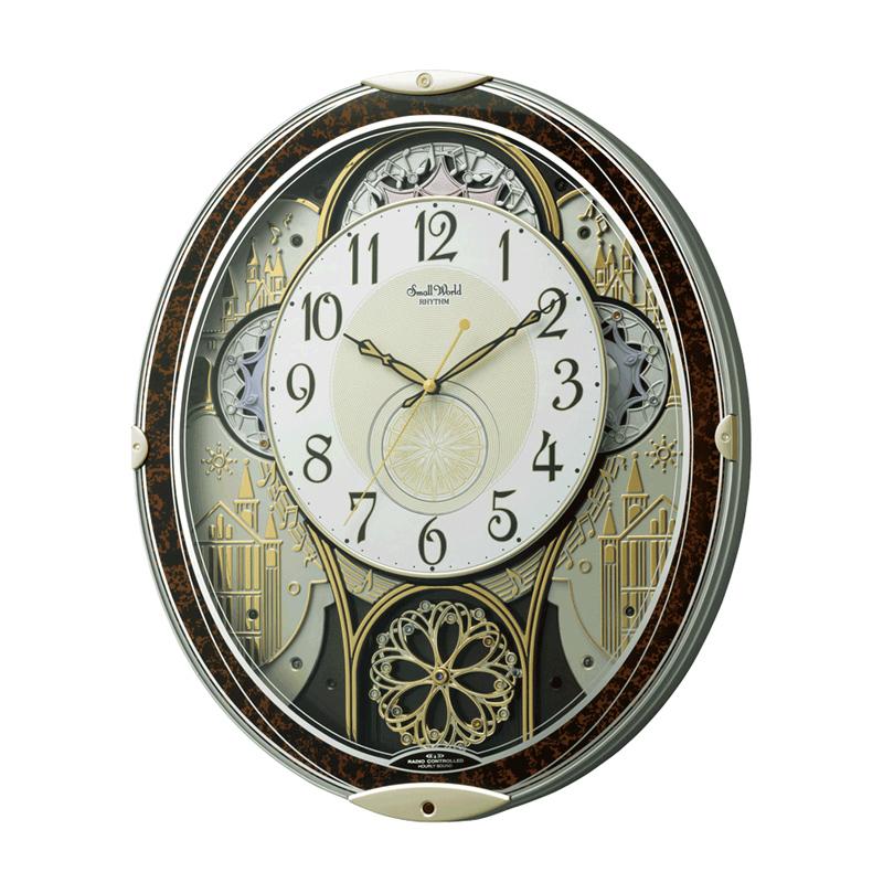【割引クーポン配布 5/21 9:59迄】4MN539RH23 リズム時計工業 電波からくり時計 Small World(スモールワールド) ノエルN