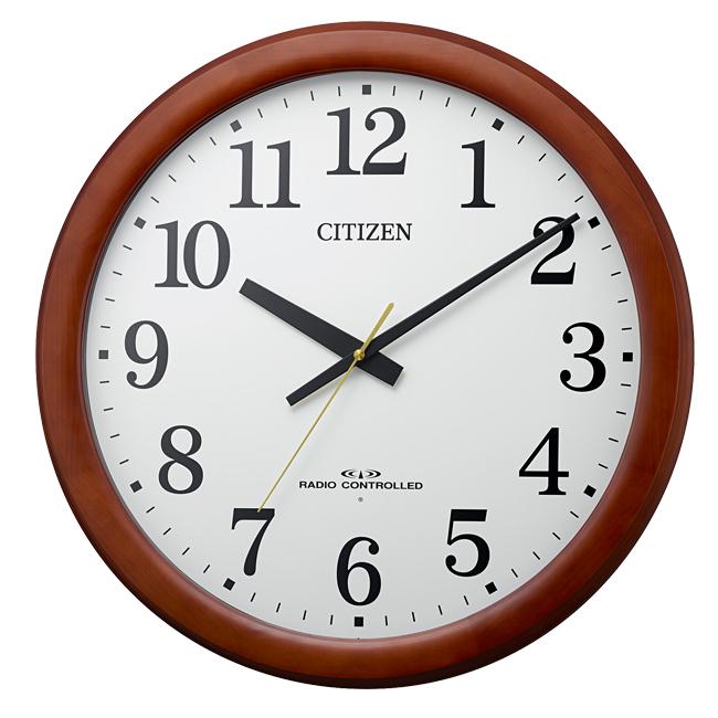 【最大5%クーポン配布中】8MY548-006 リズム時計工業 電波掛時計 木枠 茶色半艶仕上 (白)