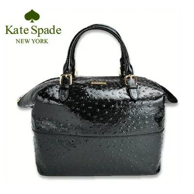 ケイトスペード Kate Spade ハンドバッグ ラージ オーストリッチ調 レザー アウトレット レディース ブラック あす楽 送料無料