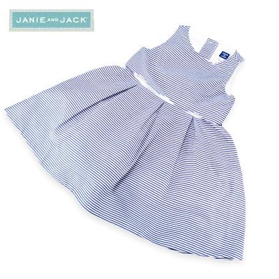 JANIE AND JACK ジェニーアンドジャック パニエ風ストライプ ワンピース アンダースコート付 女の子(ネイビー×ホワイト)(送料無料)女児 キッズ おしゃれ お出掛け かわいい 上品 ガール 夏 子供服