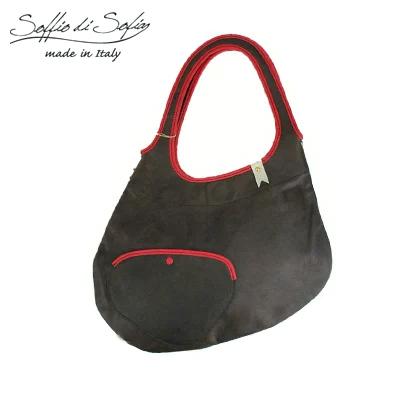 ソッフィオディソフィア/Soffio di Sofia レディースハンドバッグ 肩掛けショルダーバッグ レザー(ブラウンxレッド(送料無料)