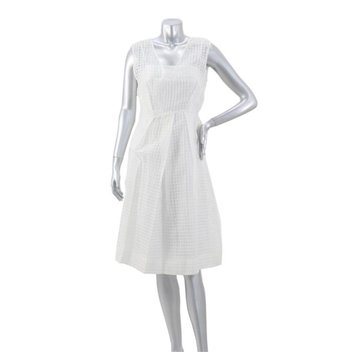訳あり 汚れ有 タラ ジャーモン TARA JARMON 裾切替Vネックワンピース VZEGS-366308000 WHITE size38