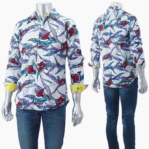【大感謝祭期間中エントリーでポイント5倍】ガネーシュ GANESH デザイン柄コットンシャツ FLOW G700 92 MULTI 【キャッシュレス還元対応】