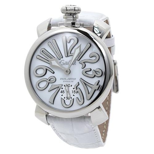ガガミラノ GaGa MILANO 5010.10S 48mm メンズ ホワイト/ホワイトレザー 時計/ウォッチ
