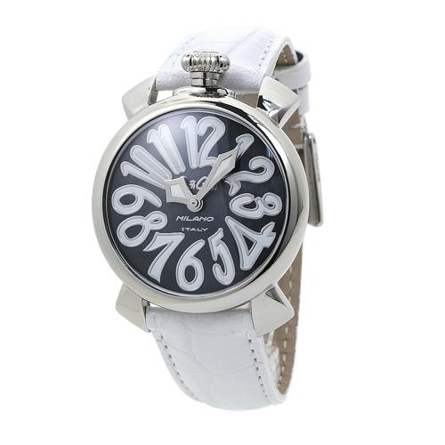 ガガミラノ GaGa Milano 5020.4 ユニセックス ブラックシェル/ホワイトレザー 時計/ウォッチ