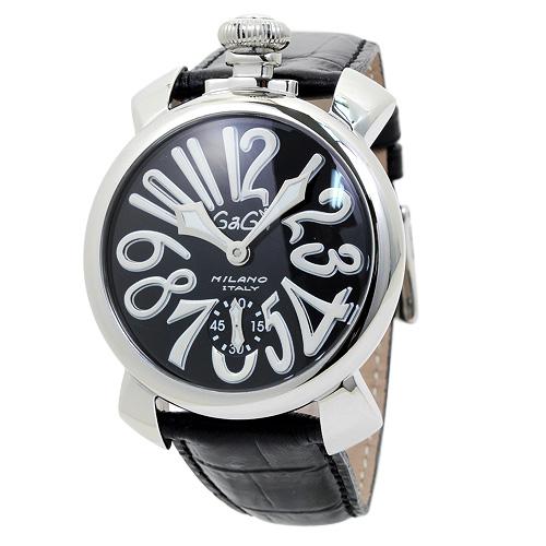 ガガミラノ 5010.04S 48mm メンズ ブラック/ブラックレザー 時計/ウォッチ