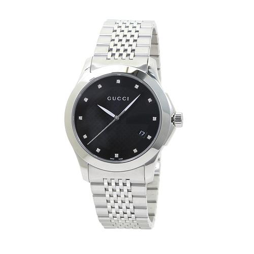 グッチ GUCCI YA126405 G-タイムレス メンズ ブラック/12Pダイヤ 時計/ウォッチ
