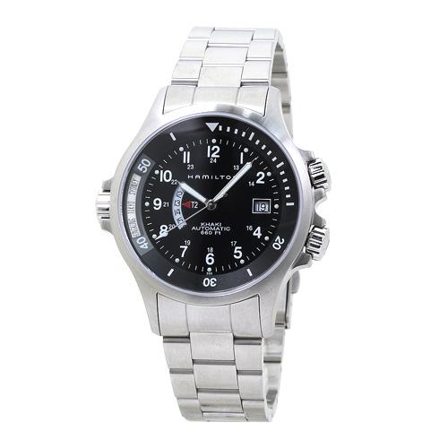 ハミルトン カーキ ネイビー GMT 自動巻き メンズ H77615133:ブラック 時計/ウォッチ