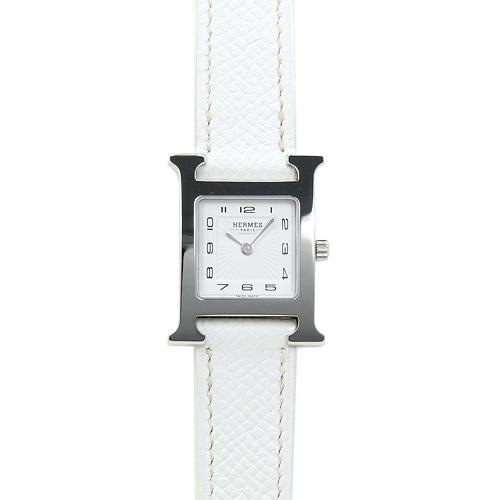 INT-675エルメス Hウォッチ PM レディース HH1.210.131.UBC (036700WW00) ホワイト/ホワイトレザー 時計/ウォッチ