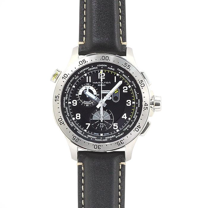 ハミルトン HAMILTON カーキ アビエーション ワールドタイマー クロノ H76714735 ブラック ブラックベルト メンズ 時計 ウォッチ
