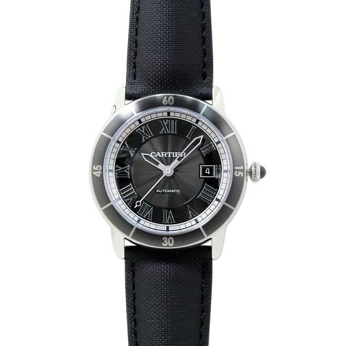 【限定1点特別価格】 カルティエ Cartier ロンド クロワジエール ドゥ カルティエ メンズ WSRN0003 グレー/ブラックレザー 時計/ウォッチ カルチェ