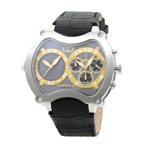 国内正規品 カーティス CURTIS&Co. BGD57GY-S ビッグタイム・グランド 57mm メンズ グレー/ブラックレザー 時計/ウォッチ 当日発送対象外