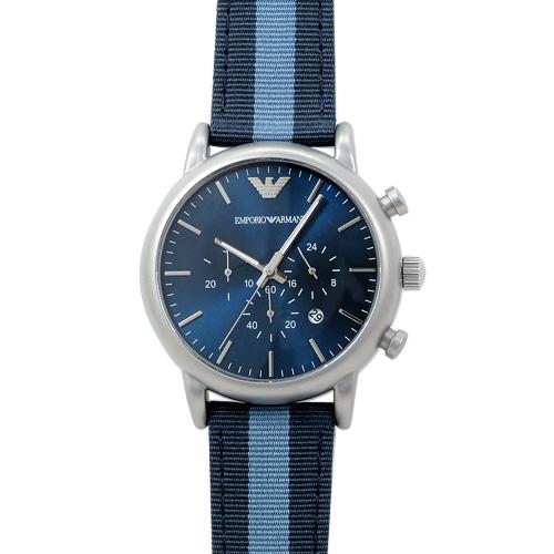 エンポリオ・アルマーニ ルイージ クロノグラフ AR1949 メンズ ブルー/キャンバス/レザー 時計/ウォッチ