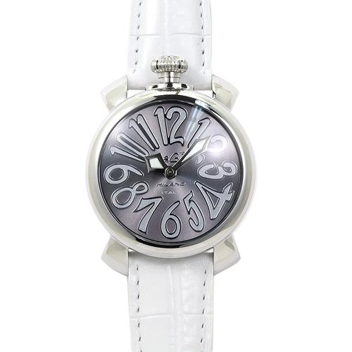 INT-115ガガミラノ 5020.9 ユニセックス シルバーグレー/ホワイトレザー 時計/ウォッチ