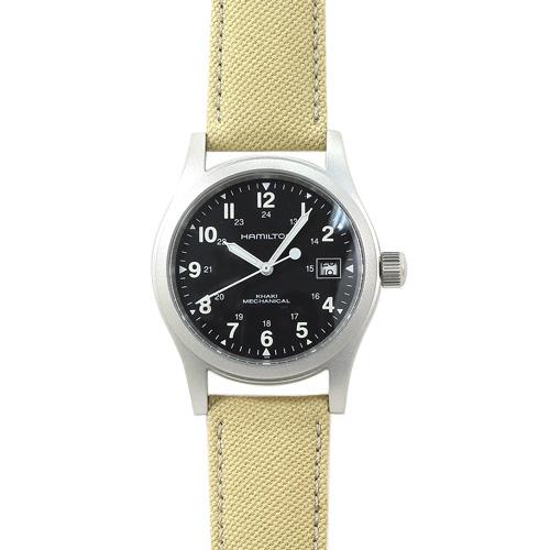INT-339ハミルトン カーキ フィールド メカ メンズ H69419933 ブラック/ベージュキャンパスストラップ 時計/ウォッチ