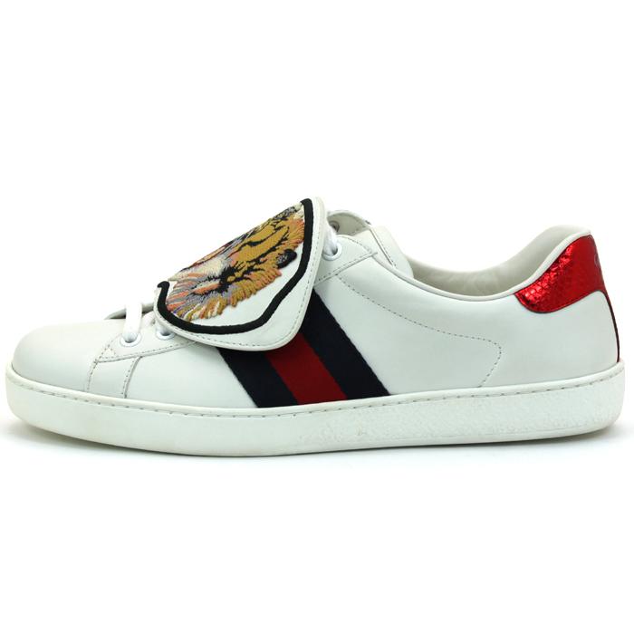 グッチ GUCCI レザータイガーパッチエーススニーカー シューズ 靴 477102 DOP80 メンズ 【キャッシュレス還元対応】