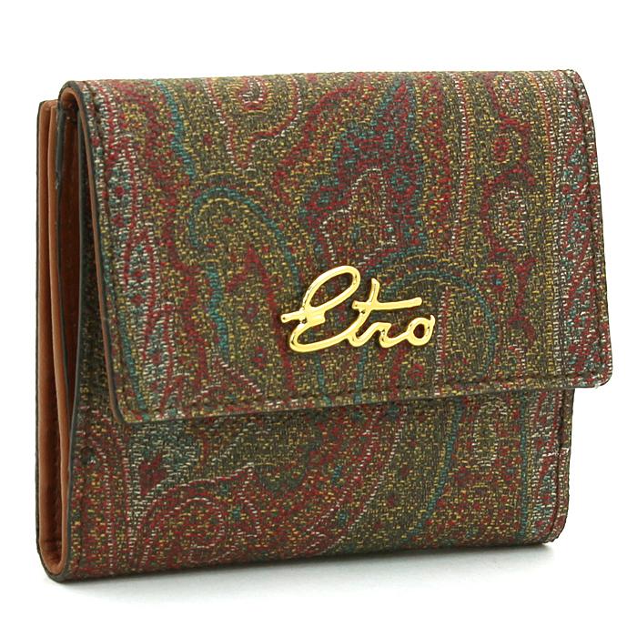 エトロ ETRO 二つ折り財布ダブルホック 1H526 8255 ワインマルチ 【キャッシュレス還元対応】