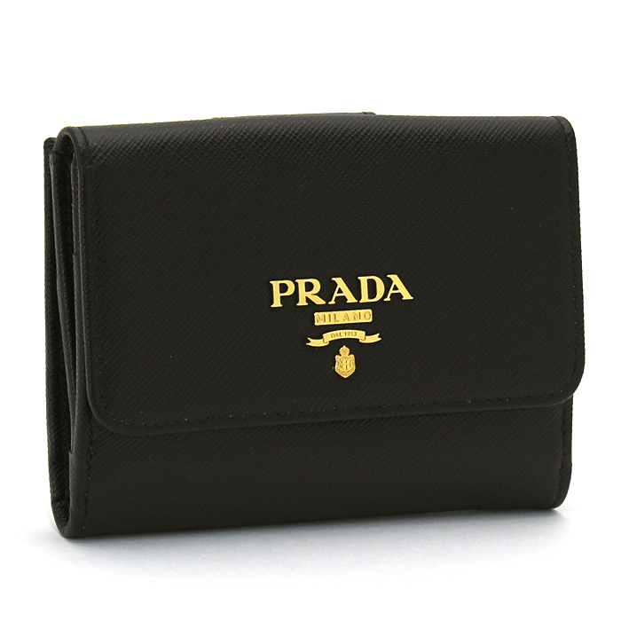 プラダ PRADA 二つ折り財布ダブルホック 1MH523 SAFFIANO METAL ORO 【キャッシュレス還元対応】
