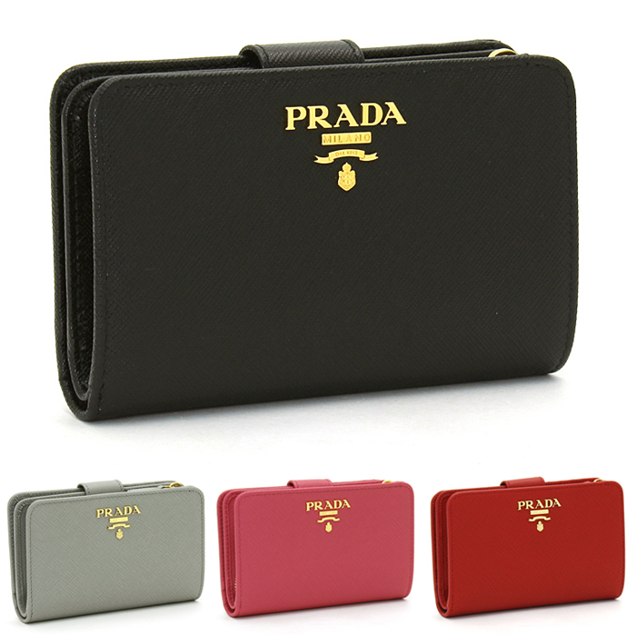 プラダ PRADA 二つ折り財布L字ファスナー 1ML225 SAFFIANO METAL ORO 【キャッシュレス還元対応】