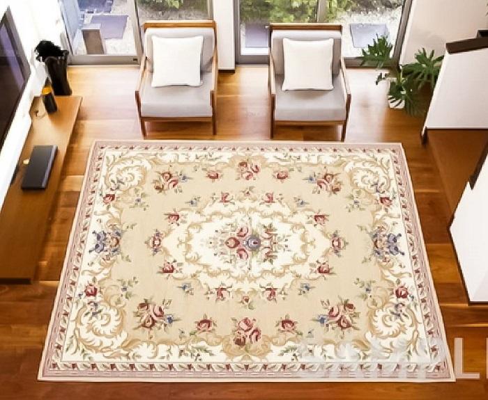 ゴブラン織 シェニールカーペット ザイン 約200×250cm BE ベージュ ラグ 絨毯 カーペット マット インテリア リビング 花柄 バラ