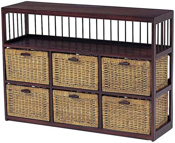 木製フレーム棚付き籐 ラタンチェスト ランドリー バスケットラック 104巾3列2段6杯 RN-2518