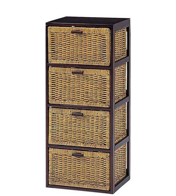 木製フレーム籐 ラタンチェスト ランドリー バスケットラック 40巾4段 RN-2644