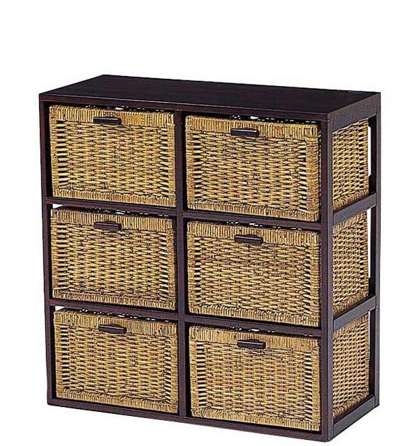 木製フレーム籐 ラタンチェスト ランドリー バスケットラック 70巾2列3段6杯 RN-2656