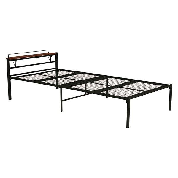 スチールシングルベッド 棚付ヘッドボード付 スチールメッシュ床板 ブラック色