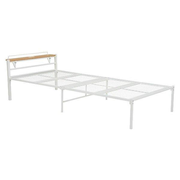 スチールシングルベッド 棚付ヘッドボード付 スチールメッシュ床板 ホワイト色(白色)