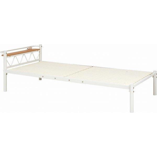 スチールシングルベッド ヘッドボード付 すのこ床板 アイボリー色
