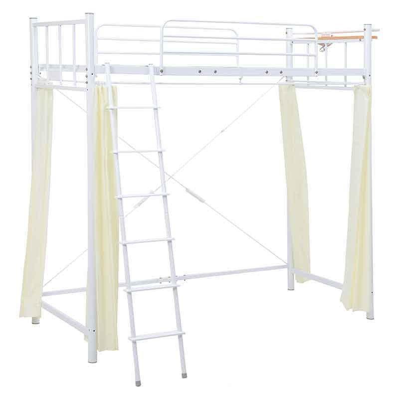 ハイロフトベッド 床面高さ175.5 スチールフレームヘッドボード付 メッシュ床板 カーテン付 シングル ホワイト色