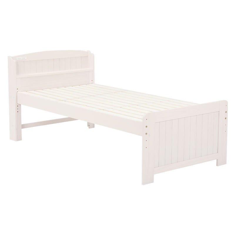木製シングルベッド ヘッドボード付 床面高さ4段階 すのこ床板 ウォッシュホワイト色(木目のある白色)