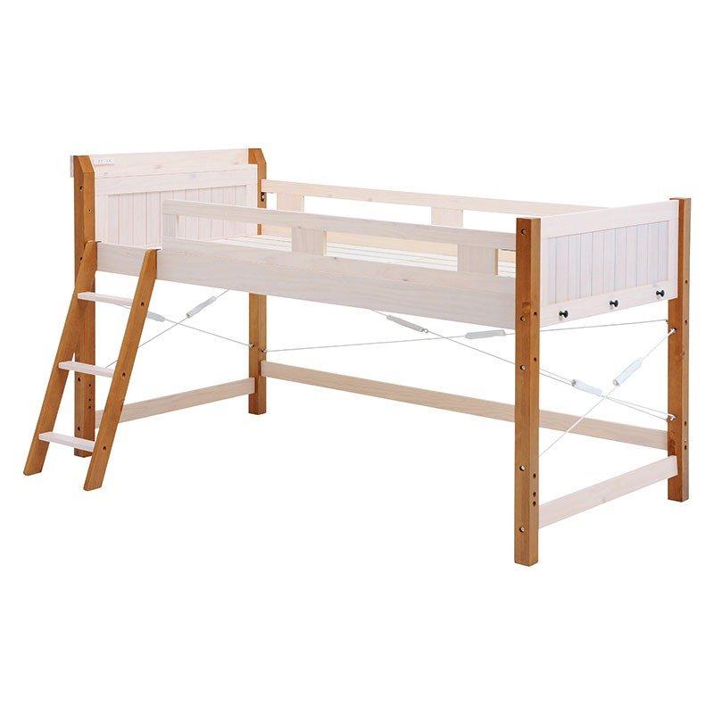 木製フレームミドルロフトベッド ウッドすのこ床板ベットフレーム シングル ホワイト色 床面高さ82.5
