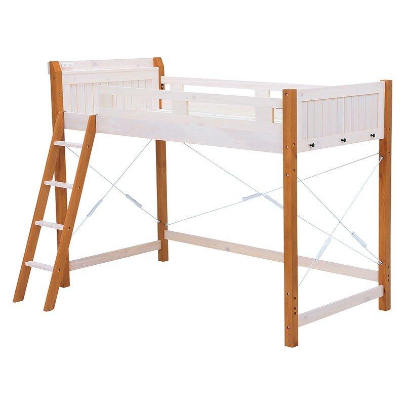 木製フレームハイロフトベッド ウッドすのこ床板ベットフレーム シングル ホワイト色 床面高さ119.5