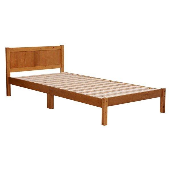 木製シングルベッド ヘッドボード付 マットレス使用専用 すのこ床板 ライトブラウン色
